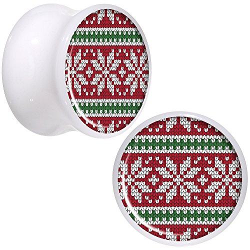 ボディキャンディー ボディピアス アメリカ 日本未発売 ウォレット Body Candy White Acrylic Red Green Christmas Sweater Saddle Ear Gauge Plug Set of 2 9/16