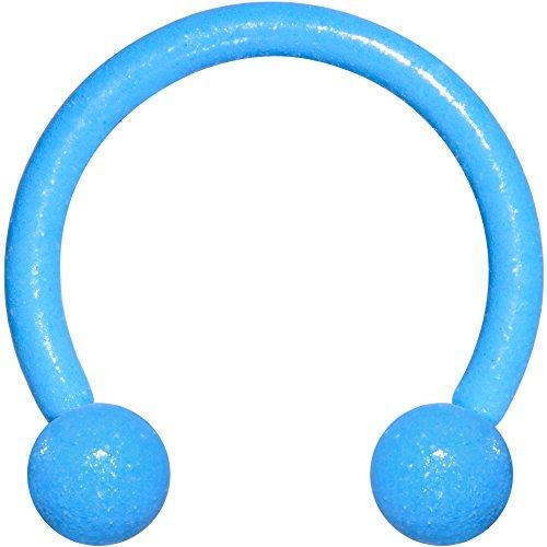 ボディキャンディー ボディピアス アメリカ 日本未発売 ウォレット Body Candy Blue Plated Steel Glow in The Dark Effect Horseshoes Curved Barbell 16 Gauge 3/8