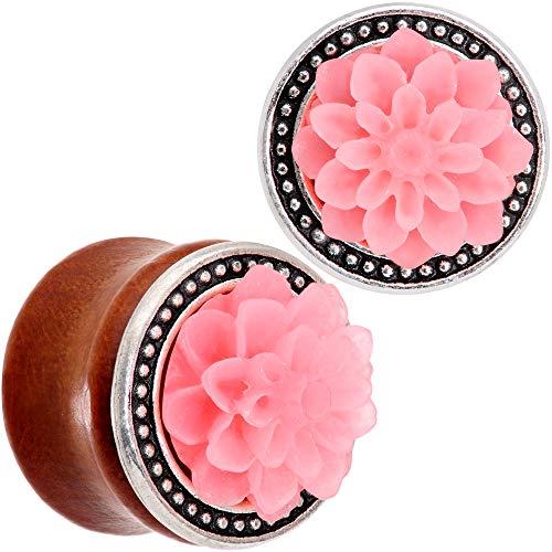ボディキャンディー ボディピアス アメリカ 日本未発売 ウォレット 【送料無料】Body Candy Handcrafted 2Pc Beechwood Pink Tropical Flower Saddle Plug Ear Plug Gauges 18mmボディキャンディー ボディピアス アメリカ 日本未発売 ウォレット