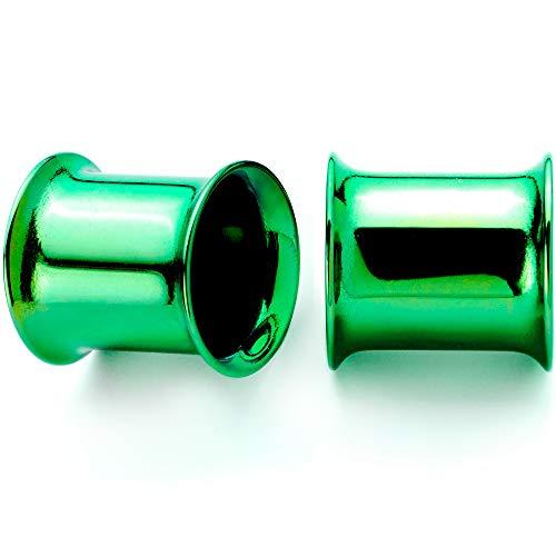 ボディキャンディー ボディピアス アメリカ 日本未発売 ウォレット 【送料無料】Body Candy 2Pc Green Anodized Steel 11mm Double Flare Tunnel Ear Gauge Plugs Set of 2 7/16