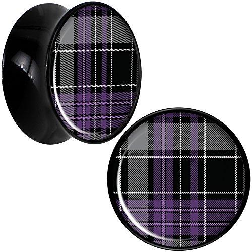 ボディキャンディー ボディピアス アメリカ 日本未発売 ウォレット Body Candy Black Acrylic Winter Purple Black Plaid Saddle Ear Gauge Plug Set of 2 18mmボディキャンディー ボディピアス アメリカ 日本未発売 ウォレット