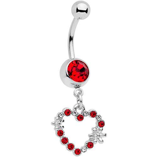 ボディキャンディー ボディピアス アメリカ 日本未発売 ウォレット送料無料 Body Candy 316L Stainless Steel Navel Ring Piercing Red Accent Valentine Heart Dangle Belly Button Ringボディキャンディー ボディピアス アメリカ 日本未発売 ウォレットMSpzVU