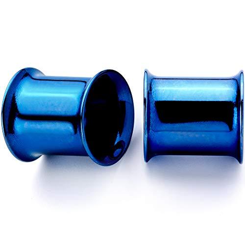 ボディキャンディー ボディピアス アメリカ 日本未発売 ウォレット 【送料無料】Body Candy 2Pc Blue Anodized Steel 8mm Double Flare Tunnel Ear Gauge Plugs Set of 2 0 Gaugeボディキャンディー ボディピアス アメリカ 日本未発売 ウォレット