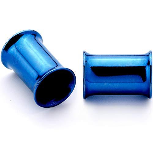 ボディキャンディー ボディピアス アメリカ 日本未発売 ウォレット 【送料無料】Body Candy 2Pc Blue Anodized Steel 6mm Double Flare Flesh Tunnel Plug Ear Gauge Plugs Set of 2 2 Gaugeボディキャンディー ボディピアス アメリカ 日本未発売 ウォレット