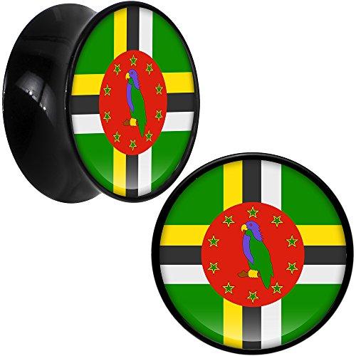 ボディキャンディー ボディピアス アメリカ 日本未発売 ウォレット Body Candy Black Acrylic Dominica Flag Saddle Ear Gauge Plug Pair 18mmボディキャンディー ボディピアス アメリカ 日本未発売 ウォレット