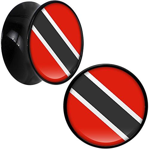 ボディキャンディー ボディピアス アメリカ 日本未発売 ウォレット Body Candy Black Acrylic Trinidad and Tobago Flag Saddle Ear Gauge Plug Pair 18mmボディキャンディー ボディピアス アメリカ 日本未発売 ウォレット