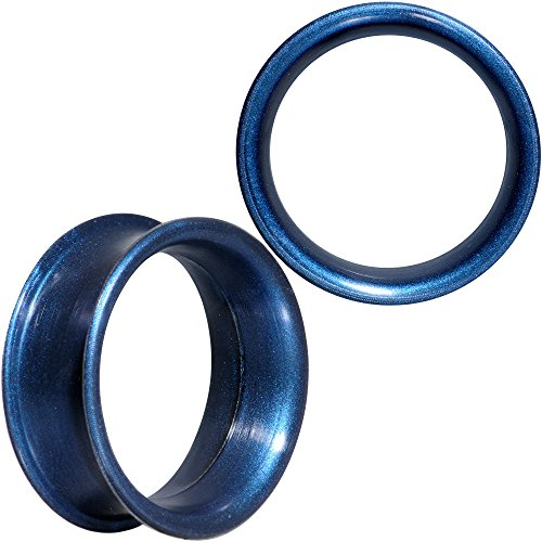 ボディキャンディー ボディピアス アメリカ 日本未発売 ウォレット 【送料無料】Body Candy Thin Flexible Iridescent Blue Silicone Tunnel Ear Gauge Plug Set of 2 7/8
