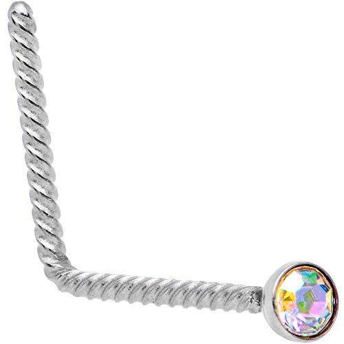 ボディキャンディー ボディピアス アメリカ 日本未発売 ウォレット Body Candy Steel Aurora 2mm Accent Inlay So Twisted L Shaped Nose Stud Ring 20 Gauge 1/4