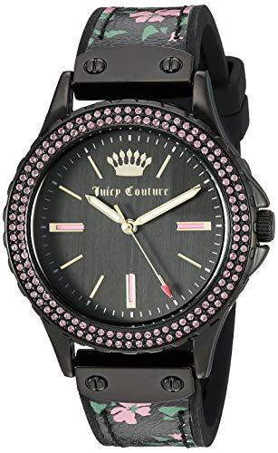 腕時計 ジューシークチュール レディース 【送料無料】Juicy Couture Black Label Women's Swarovski Crystal Accented Black and Floral Leather Strap Watch腕時計 ジューシークチュール レディース