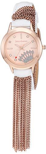 ジューシークチュール レディース Juicy Couture Black Label Women's Swarovski Crystal Accented Rose Gold-Tone and White Leather Strap Watchジューシークチュール レディース