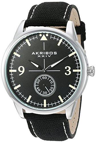 アクリボスXXIV 腕時計 メンズ 【送料無料】Akribos XXIV Men's Silver-Tone Case with Black Dial on Black Canvas Strap Watch AK938BKアクリボスXXIV 腕時計 メンズ