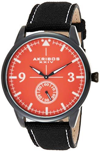 腕時計 アクリボスXXIV メンズ 【送料無料】Akribos XXIV Men's Dark Gray Case with Red Dial on Black Canvas Strap Watch AK938RD腕時計 アクリボスXXIV メンズ