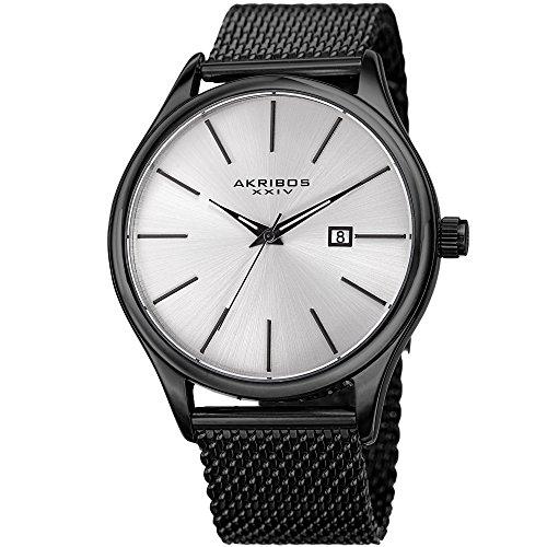 アクリボスXXIV 腕時計 メンズ 【送料無料】Akribos XXIV Black and Silver Designer Men's Watch ? Classic and Casual Round Stainless Steel Mesh Fashion Bracelet Wristwatch ? AK959BKアクリボスXXIV 腕時計 メンズ