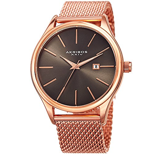 アクリボスXXIV 腕時計 メンズ 【送料無料】Akribos XXIV Rose Gold Designer Men's Watch ? Classic and Casual Round Stainless Steel Mesh Fashion Bracelet Wristwatch ? AK959RGGNアクリボスXXIV 腕時計 メンズ