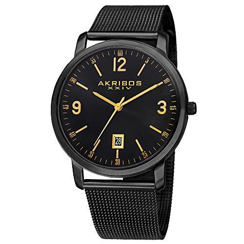アクリボスXXIV 腕時計 メンズ 【送料無料】Akribos XXIV Men's Sunburst Dial Watch - Classic Easy-to-Read Face with Date Window On Stainless Steel Mesh - AK858アクリボスXXIV 腕時計 メンズ