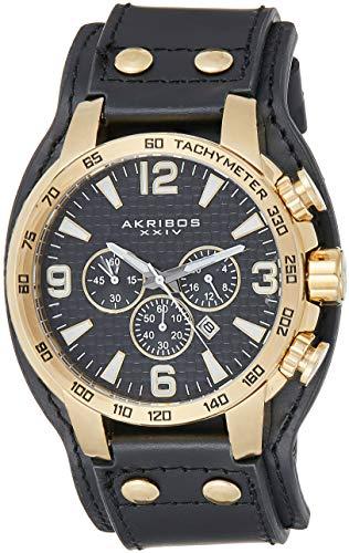 アクリボスXXIV 腕時計 メンズ 【送料無料】Akribos XXIV Men's Chronograph Watch - 3 Subdials, Seconds, Minutes and GMT plus Date Window on Genuine Leather Cuff Strap - AK727アクリボスXXIV 腕時計 メンズ