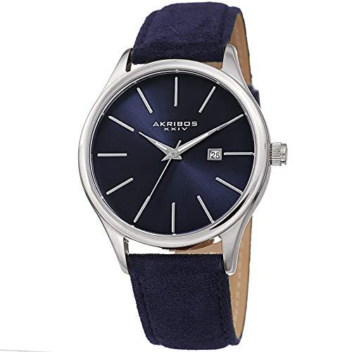 アクリボスXXIV 腕時計 メンズ 【送料無料】Akribos XXIV Men's Suede Leather Watch ? Classic Round Casual Designer Wristwatch with Date Window and Sunray Dial ? Blue - AK1019BUアクリボスXXIV 腕時計 メンズ