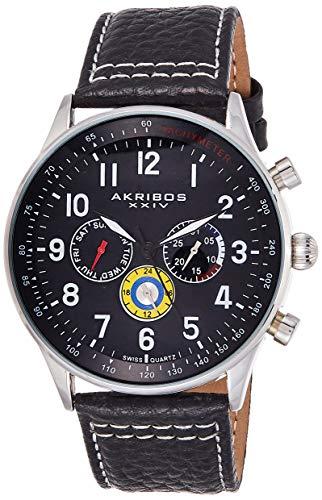 アクリボスXXIV 腕時計 メンズ 【送料無料】Akribos XXIV Multicolored Complications Men's Watch - 3 Subdials On Leather Calfskin with White Stitching Strap - AK751アクリボスXXIV 腕時計 メンズ
