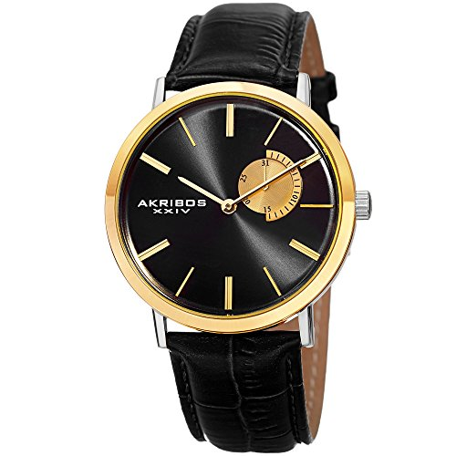 アクリボスXXIV 腕時計 メンズ 【送料無料】Akribos XXIV Essential Mens Dress Watch - Sunburst Effect Dial - Quartz Movement - Leather Strap - Gold BlackアクリボスXXIV 腕時計 メンズ