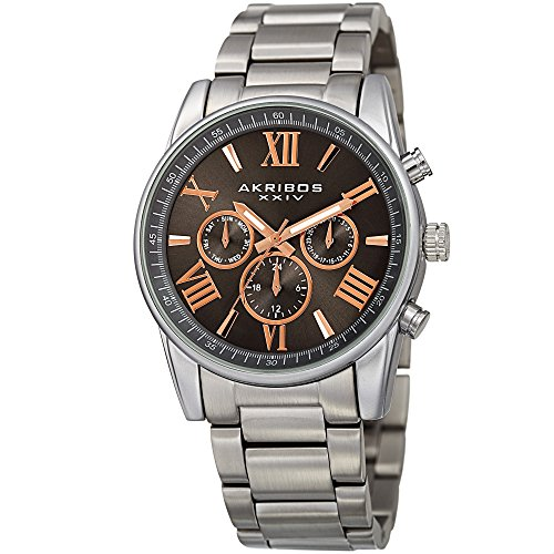 アクリボスXXIV 腕時計 メンズ 【送料無料】Akribos XXIV Men's Multifunction Watch - 3 Subdials Day, Date, & GMT On a Stainless Steel Bracelet - AK912アクリボスXXIV 腕時計 メンズ
