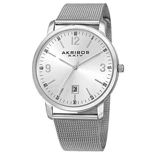 アクリボスXXIV 腕時計 メンズ 【送料無料】Akribos XXIV Omni Mens Casual Watch - Sunburst Effect Dial - Quartz Movement - Stainless Steel Mesh Strap - SilverアクリボスXXIV 腕時計 メンズ