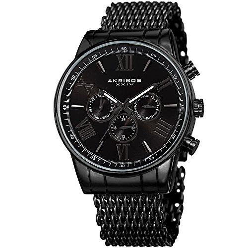 アクリボスXXIV 腕時計 メンズ 【送料無料】Akribos XXIV Men's Swiss Quartz Multifunction Watch - 3 Subdials On a Sunray Dial and Shark Mesh Stainless Steel Bracelet - AK919アクリボスXXIV 腕時計 メンズ
