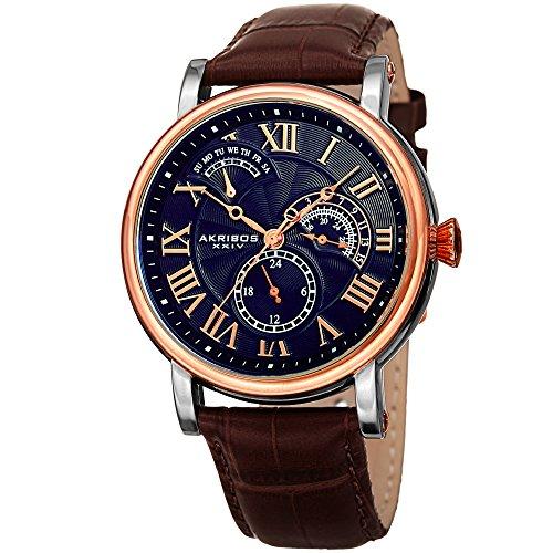 アクリボスXXIV 腕時計 メンズ 【送料無料】Akribos XXIV AK1003 Men's Quartz Multifunction Guilloche Pattern Rose-Tone/Blue & Brown Leather Strap Watch - (Blue & Brown)アクリボスXXIV 腕時計 メンズ