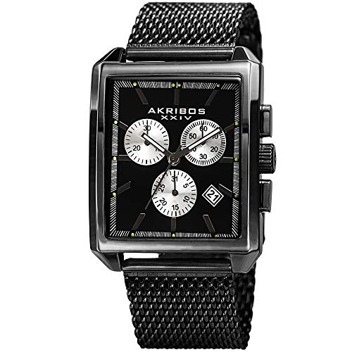 アクリボスXXIV 腕時計 メンズ 【送料無料】Akribos XXIV Men's Casual Rectangular Quartz Watch - Black and Silver Matte Dial - Featuring a Black Stainless Steel Bracelet - [ AKN918BK ]アクリボスXXIV 腕時計 メンズ