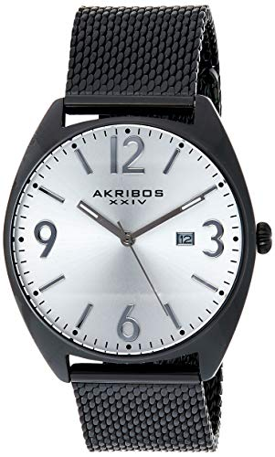腕時計 アクリボスXXIV メンズ 【送料無料】Akribos XXIV Men's Watch ? Fashionable Black Stainless Steel Mesh Bracelet White Sunburst Dial and Date Window ? Tonneau Analog Quartz ? AK1026BK腕時計 アクリボスXXIV メンズ