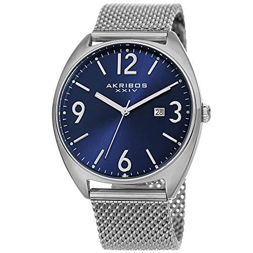 アクリボスXXIV 腕時計 メンズ 【送料無料】Akribos XXIV Men's Watch AK1026? Fashionable Stainless Steel Mesh Bracelet Sunburst Dial and Date Window (Silver Bracelet & Blue Dial)アクリボスXXIV 腕時計 メンズ