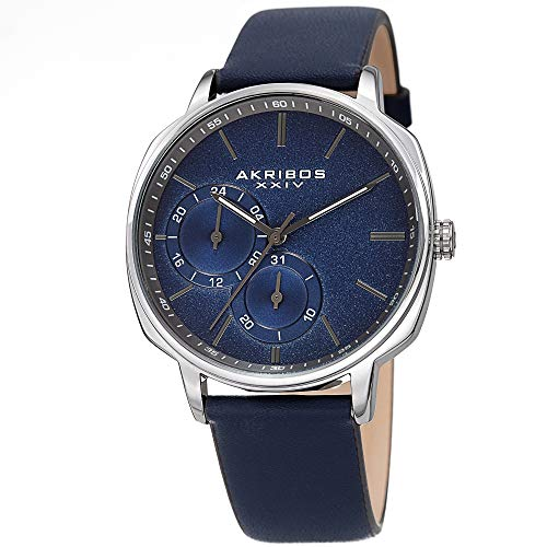 アクリボスXXIV 腕時計 メンズ 【送料無料】Akribos XXIV Men's Watch ? Blue Genuine Leather Band, Sand Blasted Grained Dial and 24 Hour and Date Recessed Sub-Dials ? Quartz Movement - AK1022BUアクリボスXXIV 腕時計 メンズ