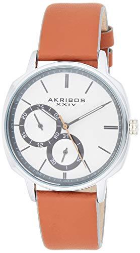 アクリボスXXIV 腕時計 メンズ 【送料無料】Akribos XXIV Men's Watch ? Tan Genuine Leather Band, Sand Blasted Grained Dial and 24 Hour and Date Recessed Sub-Dials ? Quartz Movement - AK1022TNアクリボスXXIV 腕時計 メンズ