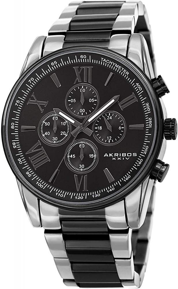 アクリボスXXIV 腕時計 メンズ 【送料無料】Akribos XXIV Men's Chronograph Watch - 4 Subdials Multifunction Complications with Tachymeter on Heavy Stainless Steel Two-Tone Bracelet Watch - AK1072 (Two-Tone Black)アクリボスXXIV 腕時計 メンズ
