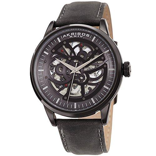 アクリボスXXIV 腕時計 メンズ 【送料無料】Akribos XXIV Skeleton Men's Watch ? Grey Genuine Leather Strap Matte Finish ? Automatic Mechanical Wristwatch See Through Dial ? AK1018BKアクリボスXXIV 腕時計 メンズ