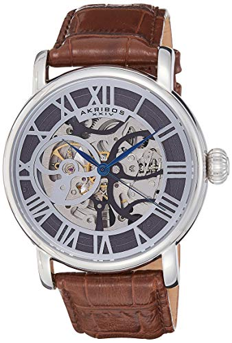 アクリボスXXIV 腕時計 メンズ 【送料無料】Akribos XXIV Men's Automatic Self-Wind Watch - See Thru Skeleton Center Dial On Genuine Leather Strap - AK540アクリボスXXIV 腕時計 メンズ