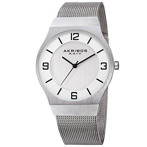 アクリボスXXIV 腕時計 メンズ 【送料無料】Akribos XXIV Omni Mens Casual Watch - Brushed Center Dial - Japanese Quartz - Stainless Steel Mesh Strap - SilverアクリボスXXIV 腕時計 メンズ