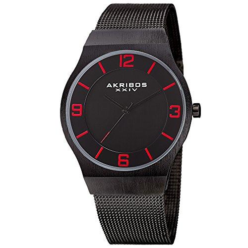アクリボスXXIV 腕時計 メンズ 【送料無料】Akribos XXIV Omni Mens Casual Watch - Brushed Center Dial - Japanese Quartz - Stainless Steel Mesh Strap - Black RedアクリボスXXIV 腕時計 メンズ
