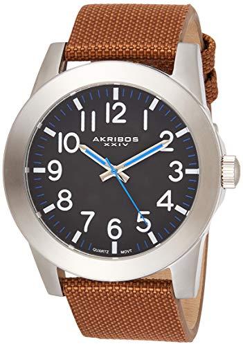 アクリボスXXIV 腕時計 メンズ 【送料無料】Akribos XXIV Men's AK779SSBR Swiss Quartz Movement Watch with Black Dial and Cognac Canvas over Leather StrapアクリボスXXIV 腕時計 メンズ