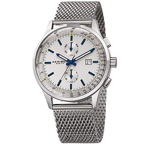アクリボスXXIV 腕時計 メンズ 【送料無料】Akribos XXIV Men's Silver-Tone Case with Blue Accented White Dial on Silver-Tone Stainless Steel Mesh Bracelet Watch AK944SSアクリボスXXIV 腕時計 メンズ