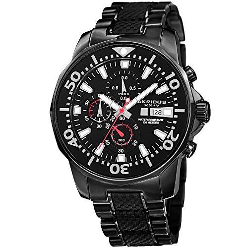 アクリボスXXIV 腕時計 メンズ Akribos XXIV Extremis Mens Casual Watch - Dodecagonal Dial - Three Hand Quartz - Stainless Steel Strap - BlackアクリボスXXIV 腕時計 メンズ