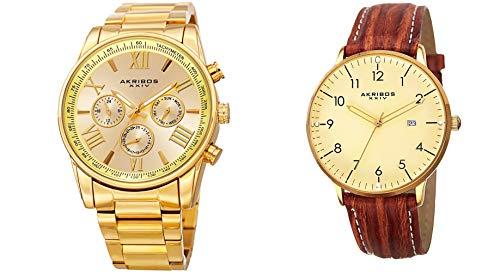 アクリボスXXIV 腕時計 メンズ 【送料無料】Akribos XXIV Men's 2 Watch Set - 1 Multifunction Swiss Quartz Watch On Yellow Gold Stainless Steel Bracelet, 1 Everyday Watch With Date Window On Brown Leather Strap - AK884アクリボスXXIV 腕時計 メンズ