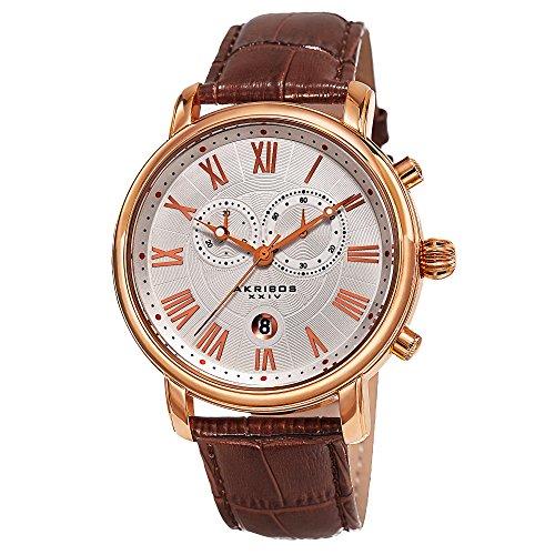 アクリボスXXIV 腕時計 メンズ 【送料無料】Akribos XXIV Our Products Mens Casual Watch - Engraved Wave Pattern Center Dial - Chronograph Quartz - Leather Strap - Brown Rose GoldアクリボスXXIV 腕時計 メンズ