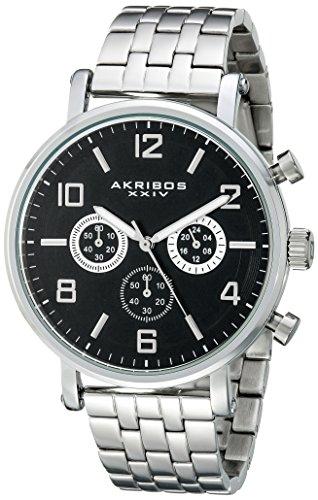 アクリボスXXIV 腕時計 メンズ 【送料無料】Akribos XXIV Men's AK800SSB Chronograph Quartz Movement Watch with Black Dial and Stainless Steel BraceletアクリボスXXIV 腕時計 メンズ