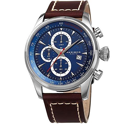 アクリボスXXIV 腕時計 メンズ Akribos XXIV Men's Sport Quartz Chronograph Watch - Blue World Map Dial - Featuring a Brown Leather Strap - AK915BUアクリボスXXIV 腕時計 メンズ