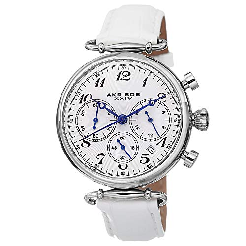 アクリボスXXIV 腕時計 レディース 【送料無料】Akribos XXIV Women's Chronograph Watch - 3 Subdials Feature Seconds, Minutes and GMT On Embossed Alligator Pattern White Leather Strap - AK630アクリボスXXIV 腕時計 レディース