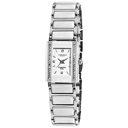 アクリボスXXIV 腕時計 レディース 【送料無料】Akribos XXIV Women's AK522 Rectangular Ceramic Quartz Movement Watch Inner Link Bracelet (Silver)アクリボスXXIV 腕時計 レディース