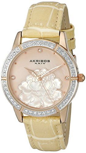 アクリボスXXIV 腕時計 レディース 【送料無料】Akribos XXIV Women's Swarovski Crystals Watch - Mother of Pearl With Flower On Dial 3 Crystal Hour Markers On Leather Strap - AK805アクリボスXXIV 腕時計 レディース