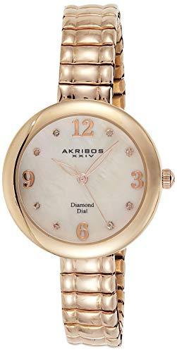 アクリボスXXIV 腕時計 レディース 【送料無料】Akribos XXIV Women's Genuine Diamond Hour Marker - Quartz Movement Watch with Mother of Pearl Dial on Stainless Steel Bracelet -AK765アクリボスXXIV 腕時計 レディース
