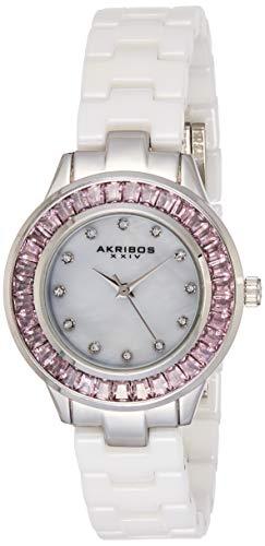 アクリボスXXIV 腕時計 レディース 【送料無料】Akribos XXIV Women's Crystal Baguette Watch - 12 Genuine Crystal Hour Markers On Mother of Pearl Dial and Ceramic Bracelet - AK781アクリボスXXIV 腕時計 レディース