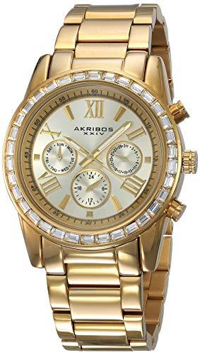 アクリボスXXIV 腕時計 レディース Akribos XXIV Women's Swarovski Multifunction Watch - Swiss Quartz 3 Subdial Complications, Swarovski Crystals on Bezel on Gold Tone Stainless Steel Bracelet - AK943アクリボスXXIV 腕時計 レディース